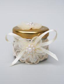 Marturie nunta borcanel miere cu floricele si dantela