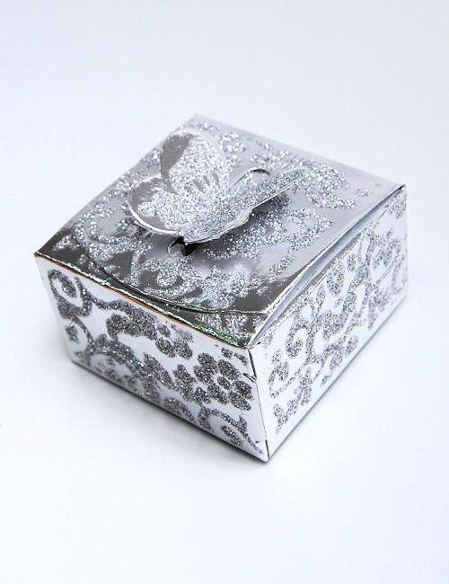 Marturie nunta cutie argintie cu fluturas