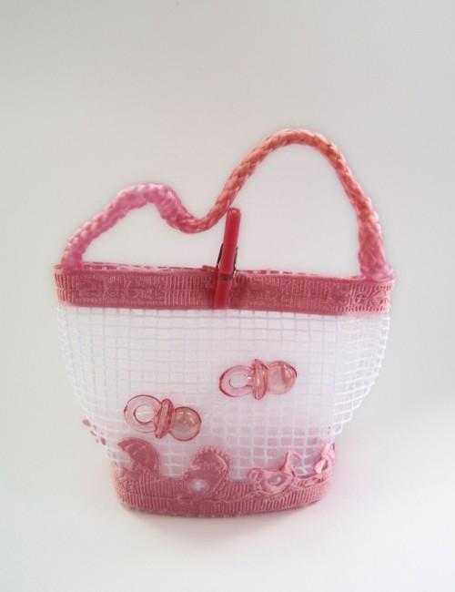 Marturie botez bomboniera roz cu suzete