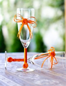 Set pahare miri cu decor portocaliu