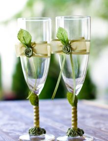 Set pahare pentru miri cu decor verde