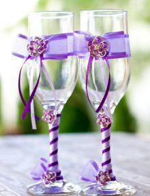 Set pahare pentru miri cu decor lila