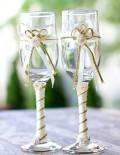 Set pahare miri decorate cu crem si auriu