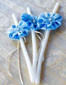 Set lumanari pentru cristelnita decorate cu floricele si fluturi  bleu