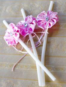 Set lumanari cristelnita decorate cu floricele si fluturi roz