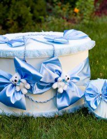 Set cutii ovale pentru trusou botez cu decor bleu