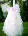Lumanare botez cu accesorii roz