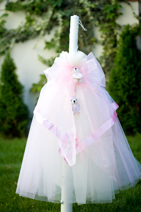 Lumanare botez cu decor roz si ursuleti