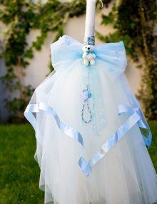 Lumanare botez cu accesorii bleu