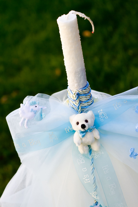 Lumanare botez cu accesorii bleu 1
