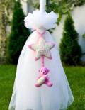 Lumanare botez cu jucarie roz