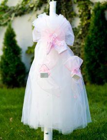 Lumanare botez fetite cu decor umbreluta roz