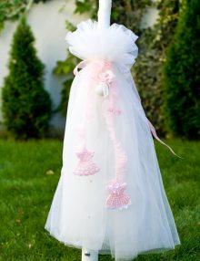 Lumanare botez fetite cu accesorii roz crosetate