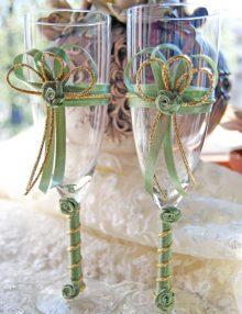 Set pahare miri cu decor vernil si auriu