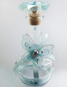 Sticla mir botez cu decor fluturi bleu