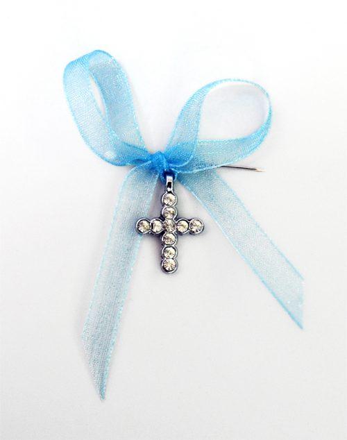 Cruciulite botez cu pietricele transparente si panglica bleu 1