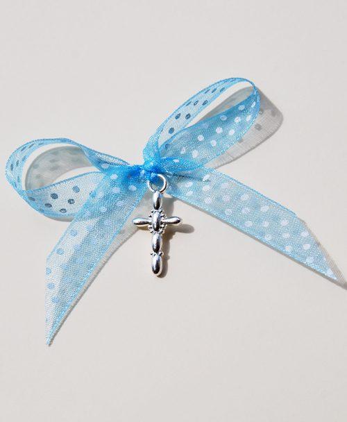 Cruciulite botez cu panglica organza bleu cu buline 1