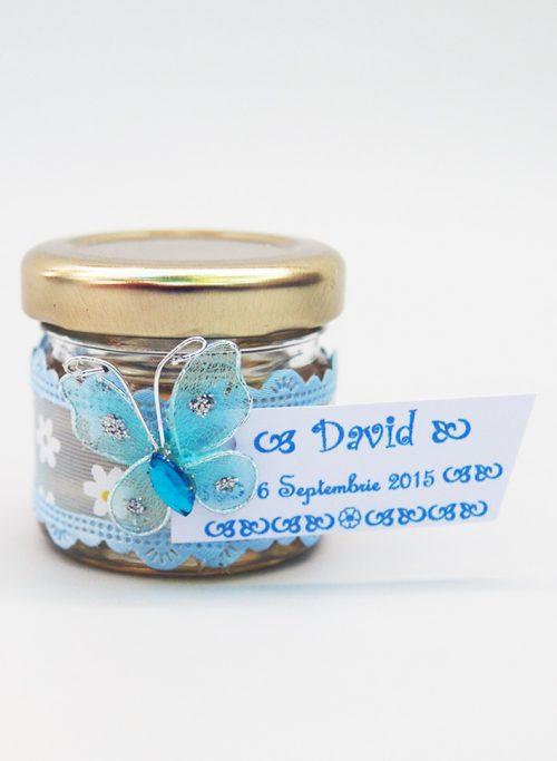 Marturie borcanel miere cu fluture si panglica bleu inflorata 1