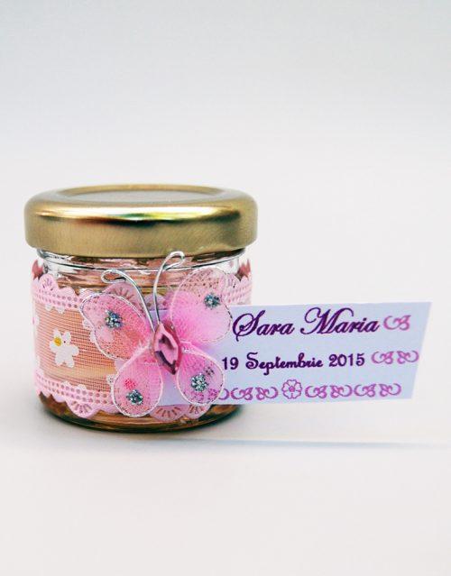 Marturie borcanel miere cu fluture si panglica roz inflorata 1