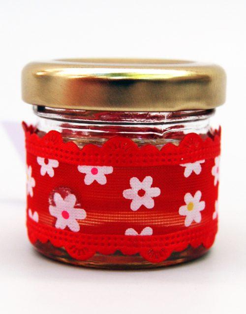 Marturie borcanel miere cu buburuza si panglica rosie inflorata 2