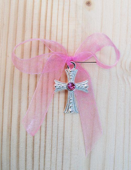 Cruciulite botez cu pietricica roz 1