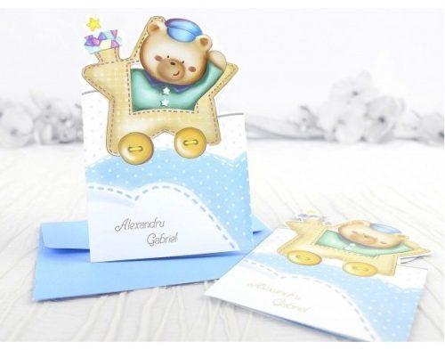 Invitatie botez Hedviga trenulet bleu cu ursulet 1