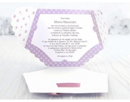 Invitatie Karmina scutec roz 2