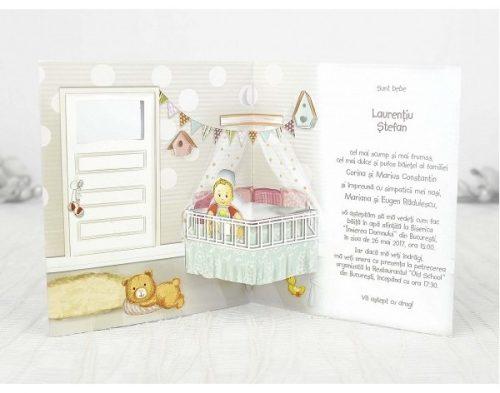 Invitatie botez Kasandra camera bebelusului 3D 2