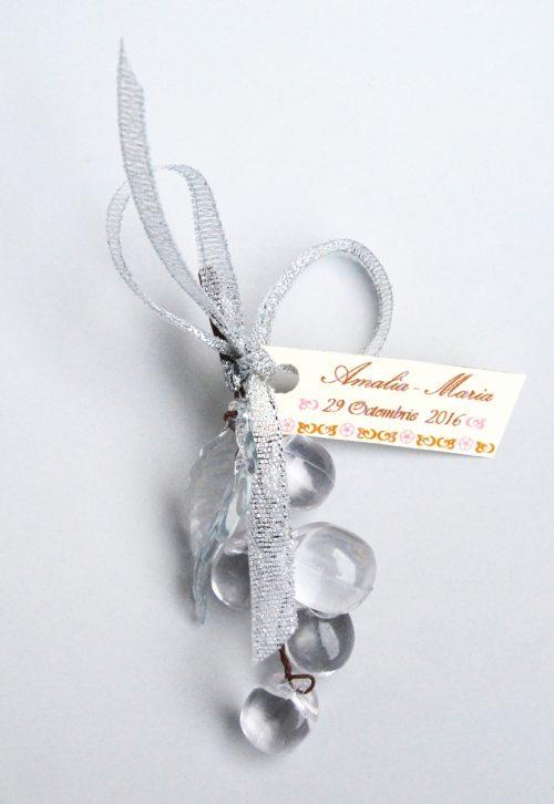 Marturie strugure cu panglica argintie si personalizare 2