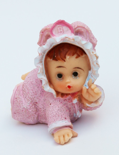 Mărturie botez bebe roz ceramica