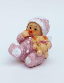 Mărturie botez bebe roz cu jucărie