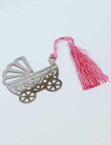 Mărturie botez fetita semn de carte cărucior metalic