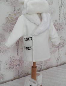 Paltonas botez pentru baietei, din stofa si blanita